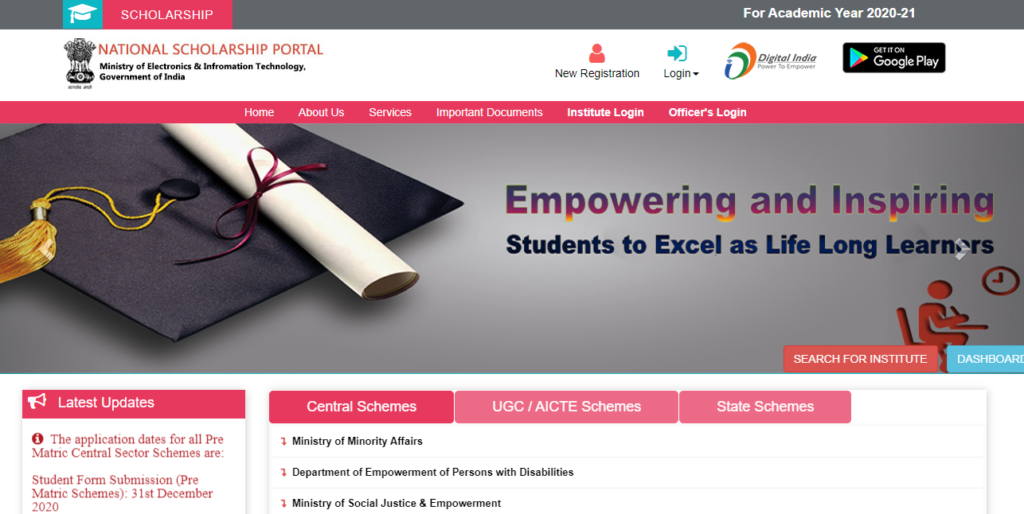 post matric scholarship for sc students